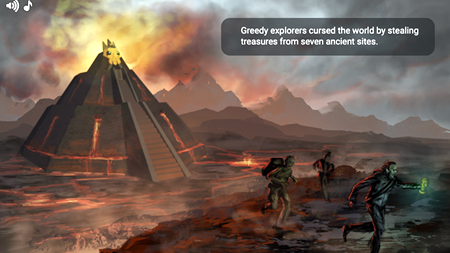 Curse Reverse screenshot showing greedy explorers stealing ancient treasures.